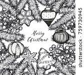 merry christmas. vector... | Shutterstock .eps vector #759730945