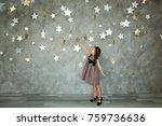 portrait of a happy little girl ... | Shutterstock . vector #759736636