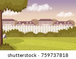 wood fence on the backyard of a ... | Shutterstock .eps vector #759737818