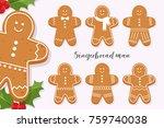 Set Of Smiling Gingerbread Man...