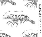 tiger shrimp pattern painted in ... | Shutterstock .eps vector #759743092