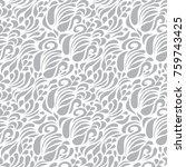 floral vector grey ornamental... | Shutterstock .eps vector #759743425