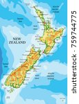 new zealand physical map | Shutterstock .eps vector #759744775