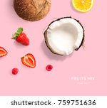 creative layout made of lemon ... | Shutterstock . vector #759751636