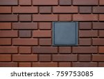 blank metal signage on red... | Shutterstock . vector #759753085