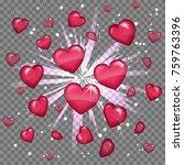 glossy love hearts light beam... | Shutterstock .eps vector #759763396