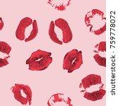 lipstick kiss seamless pattern  ...