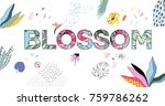 blossom vector word isolated on ... | Shutterstock .eps vector #759786262