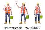painter isolated on the white... | Shutterstock . vector #759803092