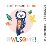 cute owl illustration with... | Shutterstock .eps vector #759803206