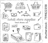 hand drawn doodle retail store...   Shutterstock .eps vector #759822358