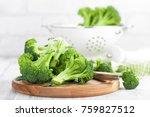 fresh broccoli on white... | Shutterstock . vector #759827512