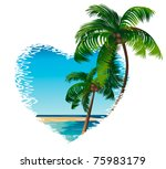 two palm trees on the... | Shutterstock .eps vector #75983179
