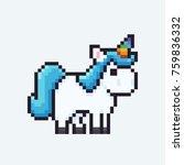 Pixel Art Unicorn Isolated On...