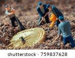 macro miner figurines digging... | Shutterstock . vector #759837628