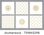 luxury retro x mas cards with... | Shutterstock .eps vector #759843298