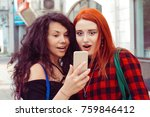 closeup portrait two surprised...   Shutterstock . vector #759846412