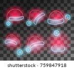 neon santa's hats set.... | Shutterstock .eps vector #759847918
