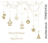 merry christmas and hapy new... | Shutterstock .eps vector #759851932