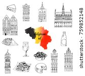 belgium. hand drawn set of... | Shutterstock .eps vector #759852148