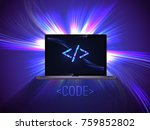 portable computer on glowing... | Shutterstock .eps vector #759852802