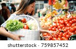 picture of woman at marketplace ... | Shutterstock . vector #759857452