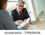 woman in banker's office...   Shutterstock . vector #759859636