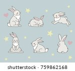 Stock vector cute little rabbits collection can used for greeting cards baby shower invitations vector 759862168