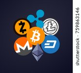 cryptocurrency on blue dark... | Shutterstock .eps vector #759863146