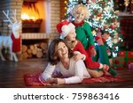 family with kids at christmas... | Shutterstock . vector #759863416