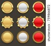 gold blank badges set.... | Shutterstock .eps vector #759866872