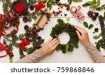 creative christmas diy. woman... | Shutterstock . vector #759868846