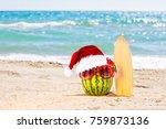 ripe attractive watermelon... | Shutterstock . vector #759873136