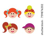 icon set of children faces | Shutterstock .eps vector #759876202