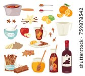 mulled wine vector christmas... | Shutterstock .eps vector #759878542