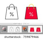 shopping bag percent clearance... | Shutterstock .eps vector #759879466