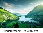 aerial view on lungernsee lake  ... | Shutterstock . vector #759882595