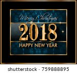 2018 happy new year background... | Shutterstock .eps vector #759888895