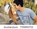 gentle feelings between the guy ... | Shutterstock . vector #759890752