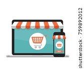 online shopping concept. open... | Shutterstock .eps vector #759892012