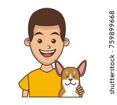 boy with cute dog | Shutterstock .eps vector #759899668