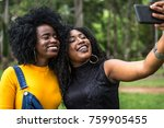 afro women decent taking selfie ... | Shutterstock . vector #759905455