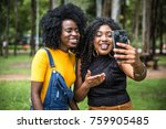 afro women decent taking selfie ... | Shutterstock . vector #759905485