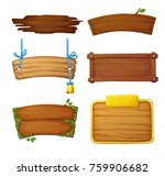 set of wooden banners with... | Shutterstock .eps vector #759906682