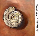 Ammonite fossil. Original oil painting. - stock photo