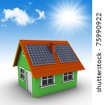 Simple green house with solar panels on the roof. 3d rendered house and photographic sky - stock photo
