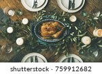 flat lay of holiday table... | Shutterstock . vector #759912682