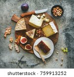 flat lay of cheese platter with ... | Shutterstock . vector #759913252