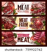 meat  fresh cut of beef and... | Shutterstock .eps vector #759922762