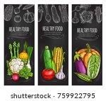 vegetable chalkboard banners... | Shutterstock .eps vector #759922795